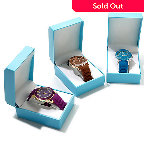 607-064 - Arm Candy by W Women's Set of Three Rubber Strap Watches