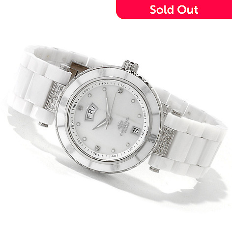 607-076 - Oniss Women's Rodeo Classic Quartz Diamond Accent Mother-of-Pearl Dial Ceramic Bracelet Watch