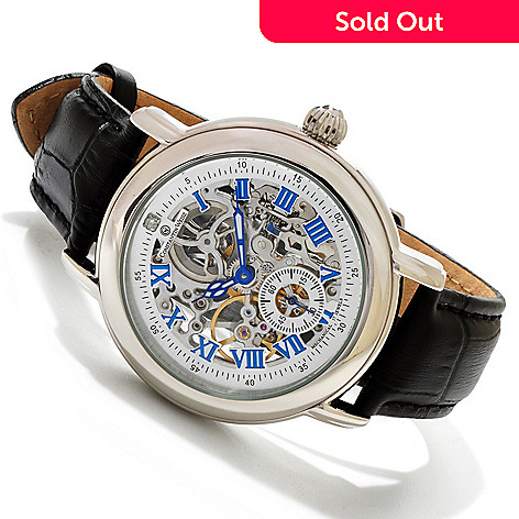 607-078 - Constantin Weisz Men's Mechanical Diamond Accented Skeleton Strap Watch