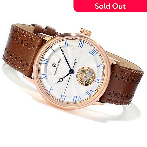 607-085 - Constantin Weisz Men's Mechanical Stainless Steel Open Heart Strap Watch