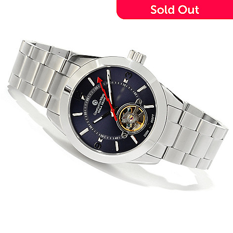 607-087 - Constantin Weisz Men's Automatic Open Heart Stainless Steel Bracelet Watch