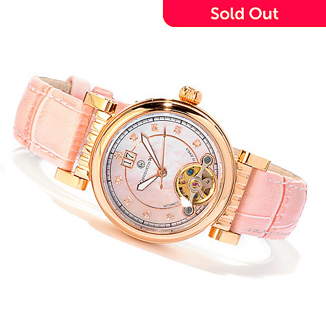 607-090 - Constantin Weisz Women's Automatic Diamond Accented Mother-of-Pearl Dial Pink Leather Strap Watch