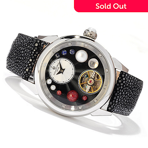 607-091 - Constantin Weisz Women's Automatic Stingray Strap Watch Made w/ Swarovski® Elements