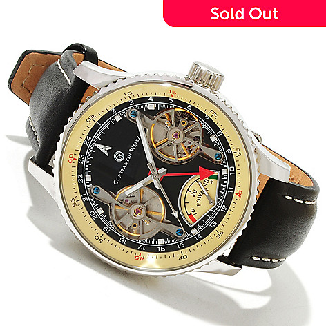 607-093 - Constantin Weisz Men's Automatic Double Escapement Stainless Steel Leather Strap Watch