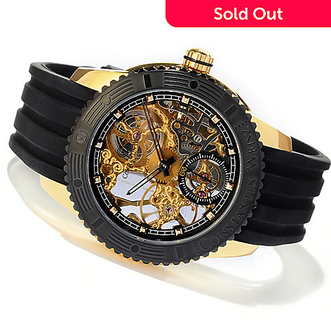 607-095 - Constantin Weisz Men's Mechanical Stainless Steel Skeletonized Strap Watch