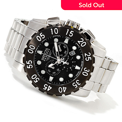 607-162 - Invicta Reserve Men's Leviathan Swiss Made Quartz Chronograph Bracelet Watch w/ 3-Slot Dive Case
