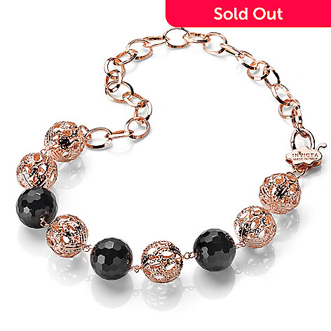 607-277 - Invicta Fiorentina Sognatrice 18K Rose Gold Plated 19.5'' Gemstone Bead Necklace