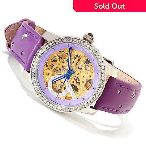607-278 - Constantin Weisz Women's Automatic Crystal Accented Skeleton Strap Watch