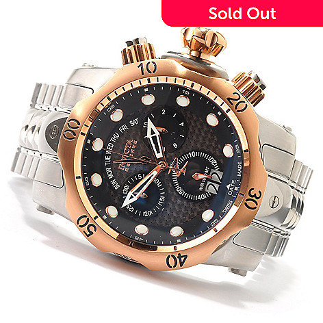607-298 - Invicta Reserve Men's Venom Bracelet Watch w/ Polyurethane Strap & 3-Slot Dive Case