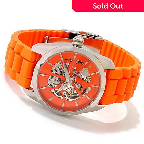 607-304 - Android 42mm Impetus Automatic Skeleton Stainless Steel Rubber Strap Watch