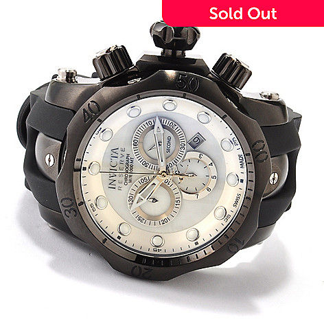 607-335 - Invicta Reserve Men's Venom Swiss Made Quartz Chronograph Polyurethane Straps Watch Set w/ Dive Case
