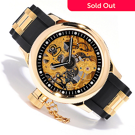 607-341 - Invicta Men's Russian Diver Mechanical Skeleton Polyurethane Strap Watch