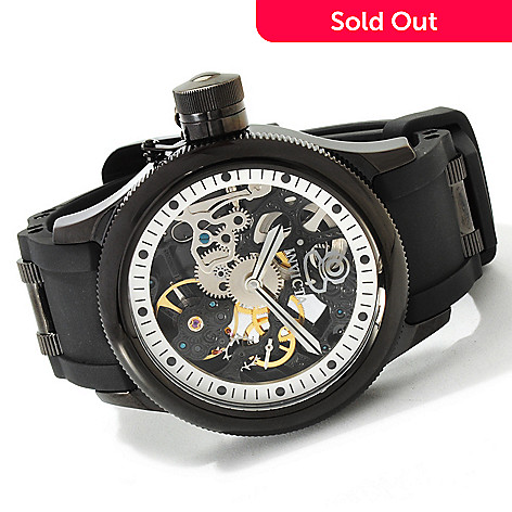 607-372 - Invicta Men's Quinotaur Russian Diver Mechanical Skeleton Dial Strap Watch