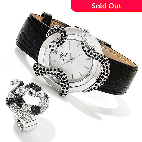 607-381 - Arm Candy by W Women's Quartz Crystal Serpentine Leather Strap Watch w/ Stretch Ring
