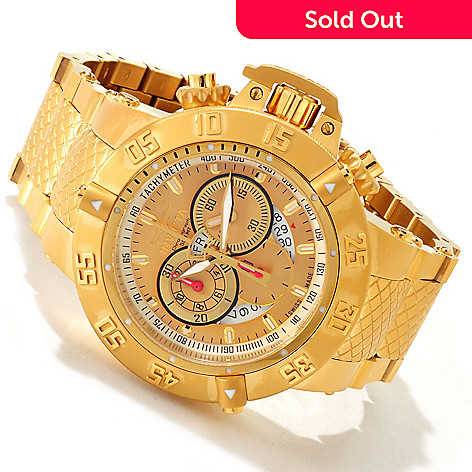 607-388 - Invicta 50mm Subaqua Noma III Swiss Made Quartz Chronograph 18K Gold Plated Bracelet Watch