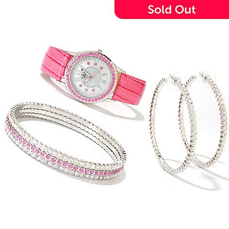607-391 - Lady Diva Women's Quartz Strap Watch w/ Three Bangles & Hoop Earring Set
