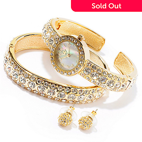 607-402 - Lady Diva Women's Crystal Accented Cuff Watch w/ Bangle Bracelet & Earring Set