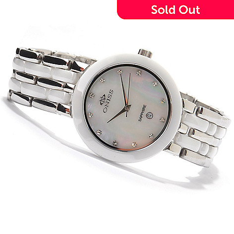 607-420 - Oniss Women's Daisy Ceramic Crystal Accented Mother-of-Pearl Bracelet Watch