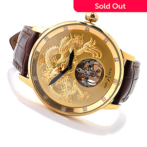607-424 - Adee Kaye Men's Dragon Mechanical Open Heart Crystal Accented Strap Watch