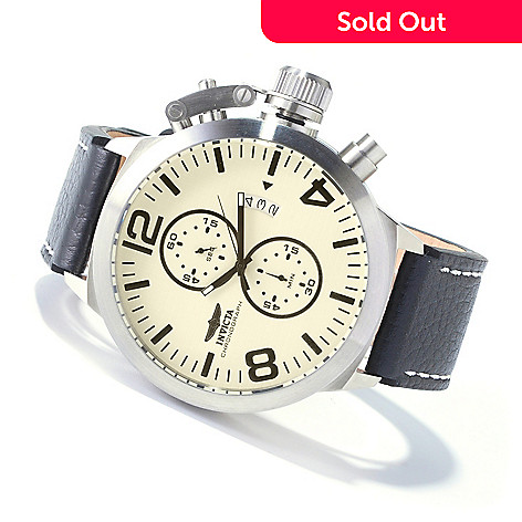 607-427 - Invicta Men's Corduba Quartz Chronograph Stainless Steel Leather Strap Watch