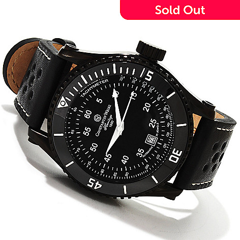 607-469 - Constantin Weisz Men's Automatic Stainless Steel Leather Strap Watch