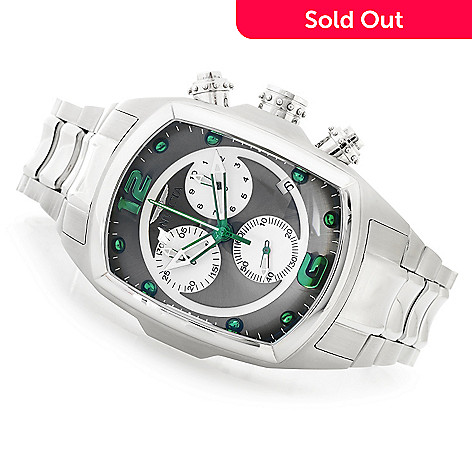 607-512 - Invicta Rounded Rectangular Lupah Revolution Swiss Chronograph Stainless Steel Bracelet Watch