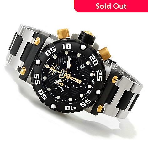 607-593 - Invicta Men's Subaqua Nitro Swiss Quartz Chronograph Bracelet Watch w/ 3-Slot Dive Case