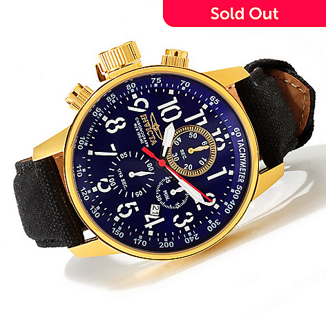 607-604 - Invicta 46mm I Force Quartz Chronograph Leather & Canvas Strap Watch