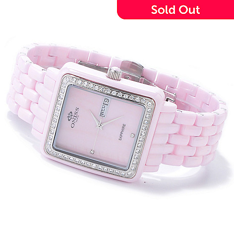 607-635 - Oniss Women's Finesse Ceramic Mother-of-Pearl Crystal Accented Bracelet Watch