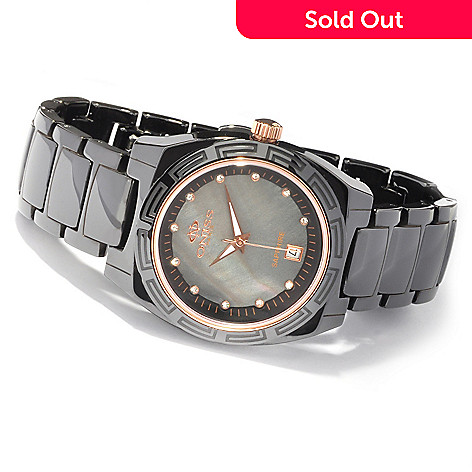 607-670 - Oniss Women's Dream Ceramic Crystal Accented Mother-of-Pearl Bracelet Watch