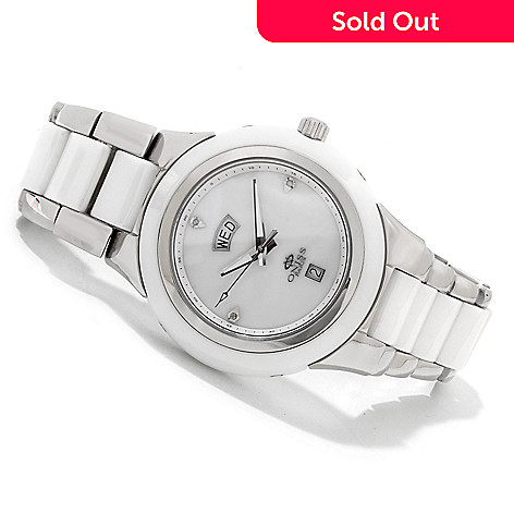 607-673 - Oniss Milky Way Diamond Accented Mother-of-Pearl Ceramic Bracelet Watch