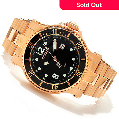 607-679 - Renato Men's T-Rex Diver Swiss Quartz GMT Stainless Steel Bracelet Watch