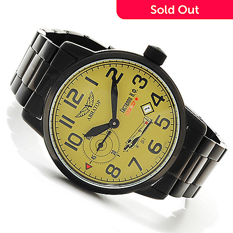 607-715 - Aviator Men's Gastello Limited Edition Mechanical Stainless Steel Bracelet Watch