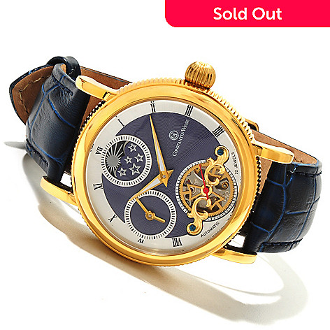 607-720 - Constantin Weisz Men's Automatic Open Heart Stainless Steel Leather Strap Watch