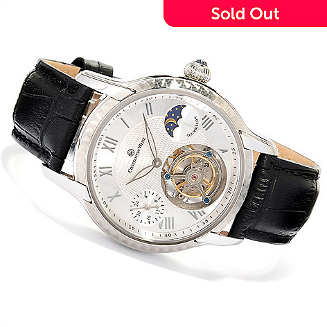 607-722 - Constantin Weisz Men's Mechanical Tourbillon Stainless Steel Leather Strap Watch