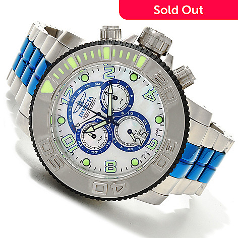 607-746 - Invicta Men's Sea Hunter Swiss Quartz Chronograph Mother-of-Pearl Dial Stainless Stee Bracelet Watch