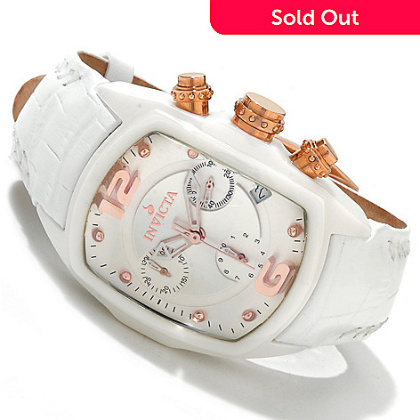 607-751 - Invicta Women's Lupah Revolution Chronograph Ceramic Leather Strap Watch