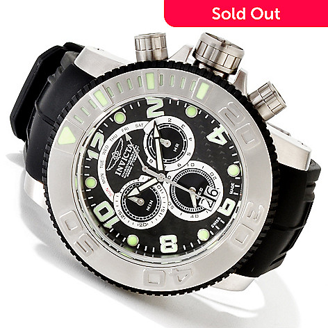 607-755 - Invicta Men's Sea Hunter Swiss Quartz Chronograph Polyurethane Strap Watch w/ 8-Slot Dive Case