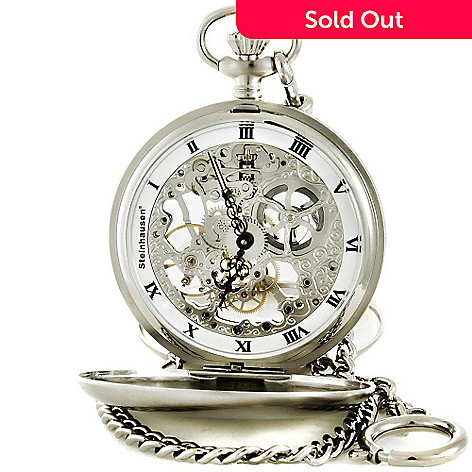 608-898 - Steinhausen 52mm Tasche V Silver-tone Skeleton Pocket Watch
