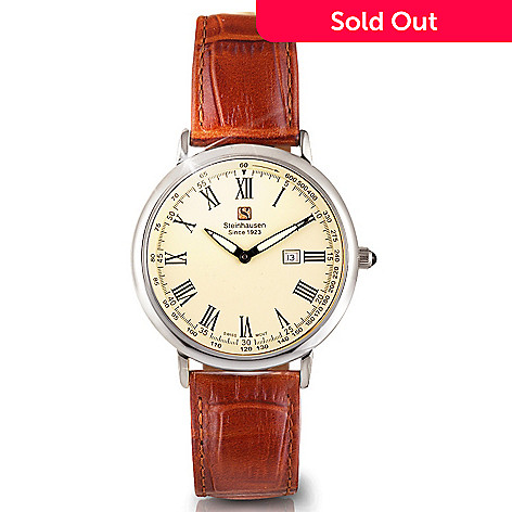 608-910 - Steinhausen Dunn Horitzon Men's Quartz Silver-Tone Leather Strap Watch