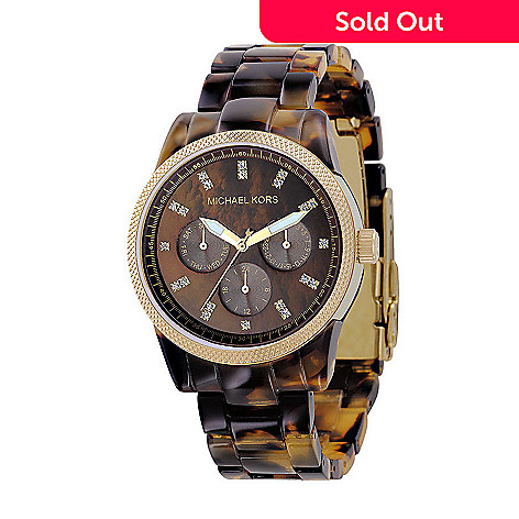 609-003 - Michael Kors Women's Quartz Tortoise Resin Bracelet Watch