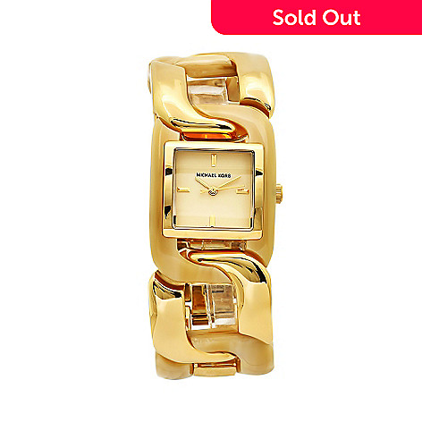 610-230 - Michael Kors Women's Classic Japanese Quartz Square Case Gold-tone Dial Bracelet Watch