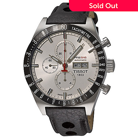 610-566 - Tissot Men's Swiss Automatic Power Reserve Tachymeter Chronograph Leather Strap Watch