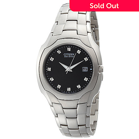 612-370 - Citizen 38mm Eco-Drive Quartz Diamond Accent Black Dial Silver-tone Stainless Steel Bracelet Watch