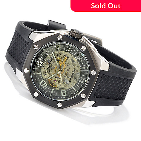 612-932 - Stührling Original Men's Hatteras Skeleton Automatic Rubber Strap Watch