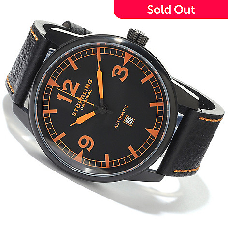 612-948 - Stührling Original Men's Tuskegee Bomber Automatic Leather Strap Watch