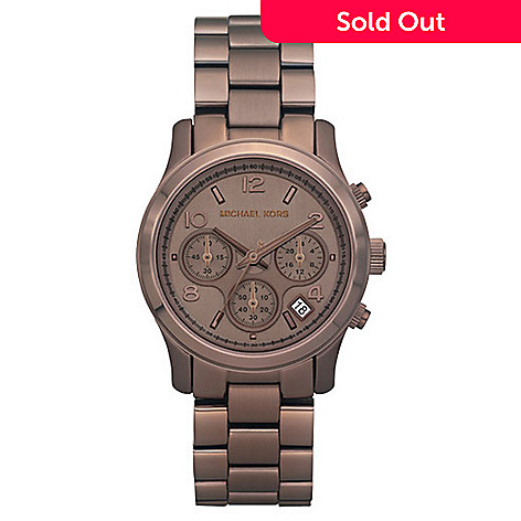 613-109 - Michael Kors Women's Quartz Chrongraph Brown Stainless Steel Bracelet Watch