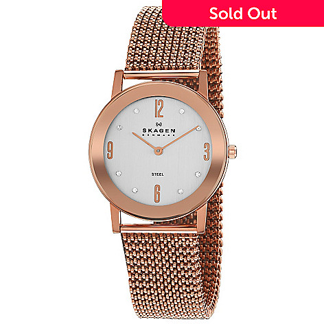 613-260 - Skagen Women's Quartz Rose Gold Mesh Bracelet Watch 39LRR1