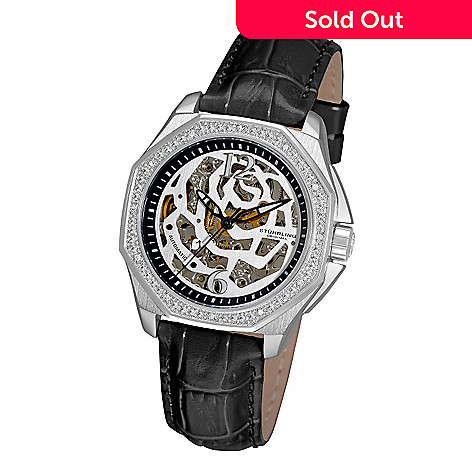 613-549 - Stührling Original Women's Nemo Rose Automatic Mechanical Skeletonized Dial Leather Strap Watch