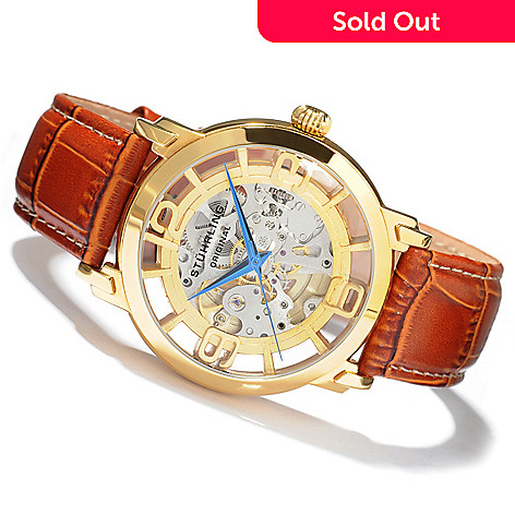 613-597 - Stührling Original Men's Winchester Grand Mechanical Skeleton Automatic Leather Strap Watch